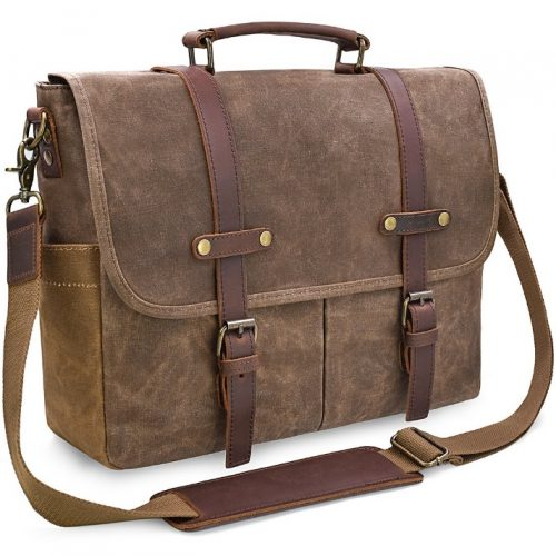 Mens Messenger Bag Leather Waxed Canvas Rugged Leather- Leather Messenger Bags