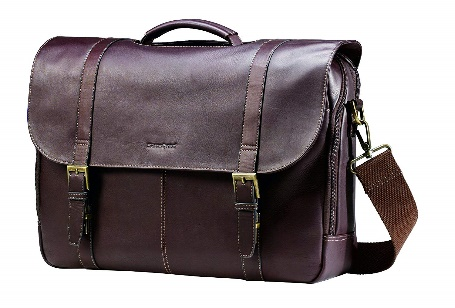 Samsonite Leather Case Double Gusset Brown- Leather Messenger Bags