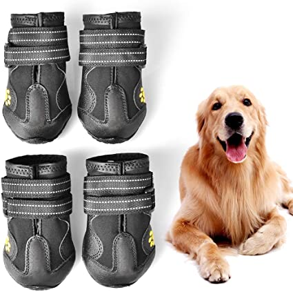 PUPWE Dog Booties,Dog Shoes,Dog Outdoor Shoes, Running Shoes for Dogs,Pet Rain Boots, Labrador Husky Shoes for Medium to Large Dogs,Rugged Anti-Slip Sole and Skid-Proof-4Ps
