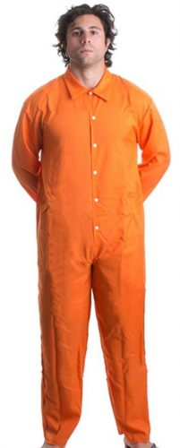 Ann Arbor T-shirt Co. Prisoner Jumpsuit | Orange Prison Inmate Halloween Costume Unisex Jail Criminal