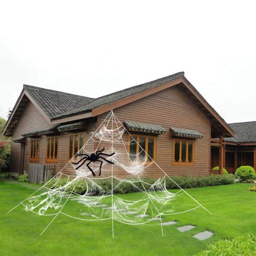 HYRIXDIRECT Outdoor Halloween Decorations Halloween Spider Decoration Triangular Mega Spider Web with Stretch Cobweb Set Party Yard Decor (with Black Spider)