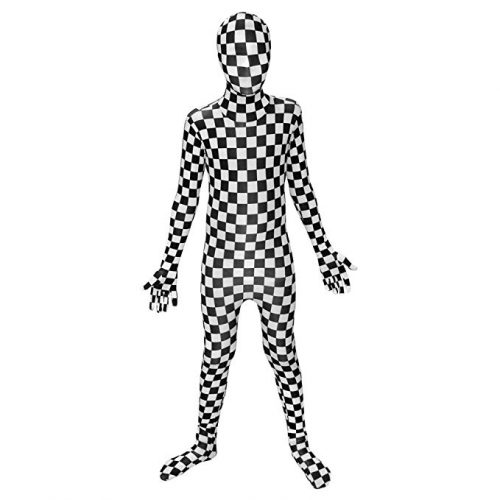 Kids Black and White Check Morphsuits Childs Costume