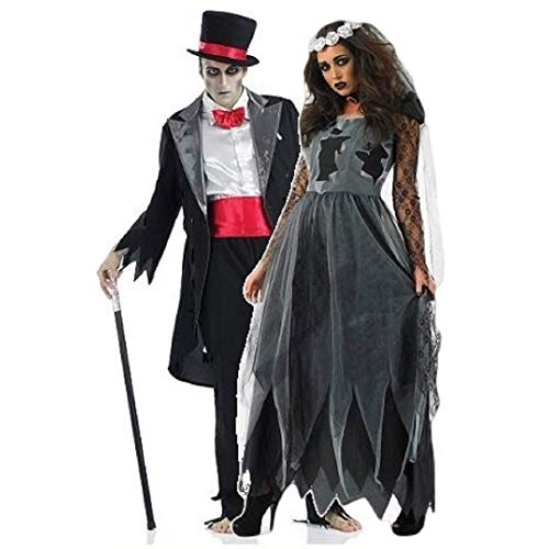 Ladies and Mens Couples Corpse Ghost Zombie Bride &amp - Couple Halloween Costumes