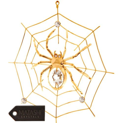 24K Gold Plated Crystal Studded Spider on Spider Web Ornament