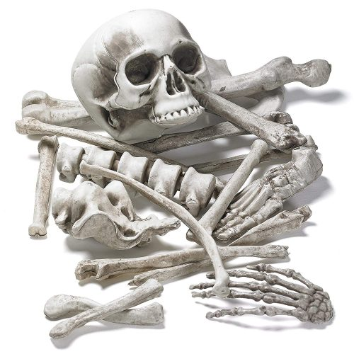 Prextex Bag of Skeleton Bones and Skull for Best Halloween Decoration and Spookiest Graveyard Scene