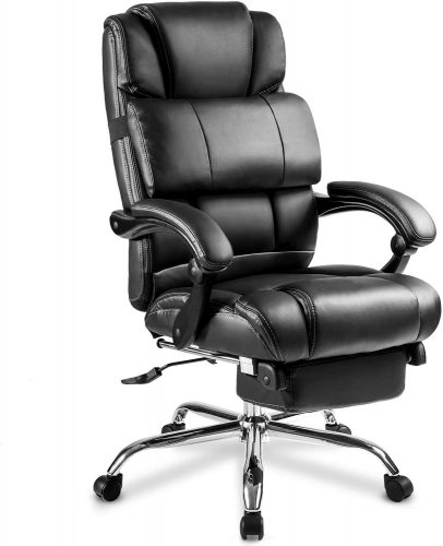 Merax Portland Technical Leather Big & Tall Executive Recliner Napping – Black