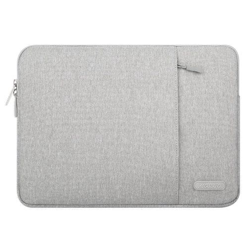 MOSISO Laptop Sleeve Bag Compatible with 13-13.3 Inch MacBook Pro, MacBook Air, Notebook Computer, Vertical Style Water Repellent Polyester Protective Case Cover with Pocket, Gray