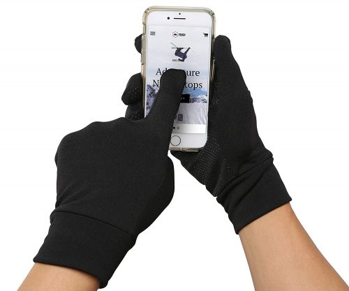 Running Sports Gloves - Touchscreen Compatible - Thermal Glove Liners Designed for Running, Cycling, Texting, Driving - 90% Nylon 10% Spandex Reinforced Blend with Super Grippy Palm - Fits Men & Women