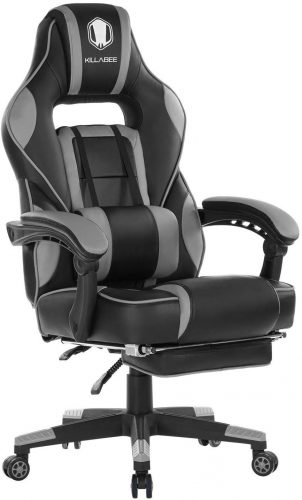 KILLABEE Reclining Memory Foam Racing Gaming Chair - Ergonomic High-Back Racing Computer Desk Office Chair with Retractable Footrest and Adjustable Lumbar Cushion (Gray)