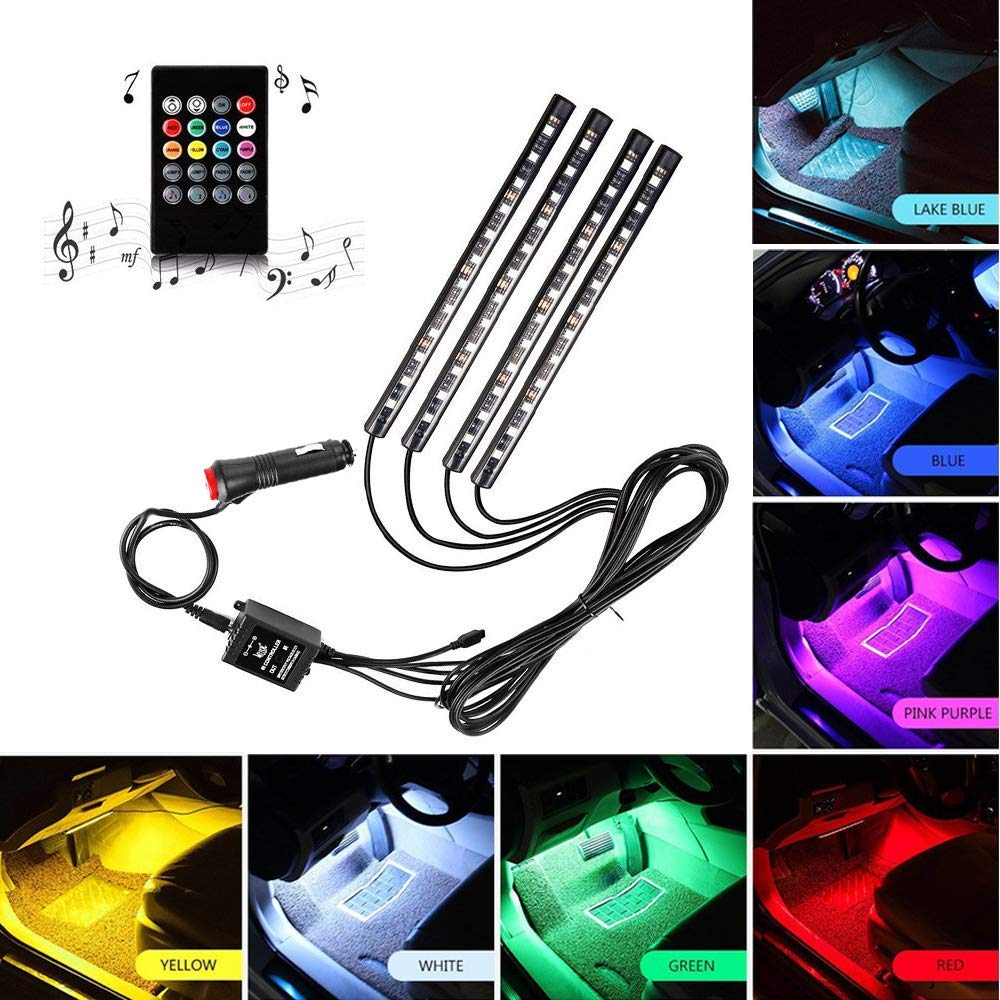 Car LED Strip Light, ONEKA-RGB 4pcs 48LED Multicolor Music Car Interior LightsUnder Dash Lighting Waterproof Kit With Sound Active Function and Wireless Remote Control, DC 12V