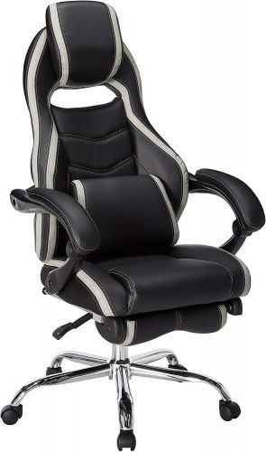 Merax Racing Style Executive PU Leather Swivel Chair with Footrest and Back Support Reclining (Gray)