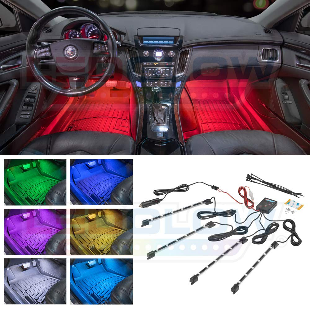 LEDGlow 4pc Multi-Color LED InteriorFootwellUnderdash Neon Light Kit for Cars & Trucks - 7 Solid Colors - 7 Patterns - Music Mode - Auto Illumination - Universal - Includes Cigarette Power Adapter