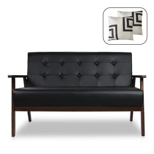 Mid-Century Modern Solid Loveseat Sofa Upholstered Fabric Couch 2-Seat Wood Armchair Living Room/Outdoor