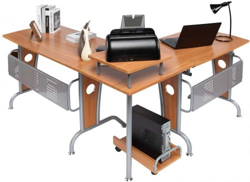 Lauraland L Shaped Computer Desk, Modern Computer Corner Desk Workstation Home Office with Shelf and Keyboard Tray