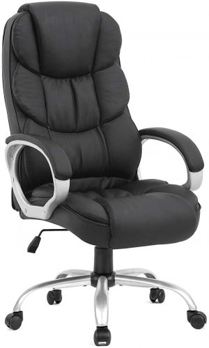BestOffice Office Chair Cheap Desk Chair Ergonomic Computer Chair with Lumbar Support Arms Headrest PU Leather Modern Rolling Swivel Executive Chair for Back Pain Women Men Adults, Black