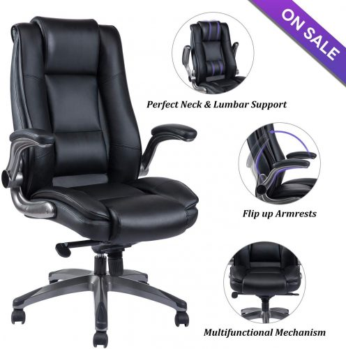 VANBOW Office Chair High Back Leather Executive Computer Desk Chair - Adjustable Tilt Angle and Flip-up Arms, Thick Padding for Comfort and Ergonomic Design for Lumbar Support, Black