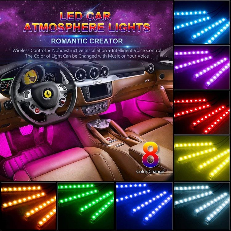 Wsiiroon Car LED Strip Light, 4pcs 48 LED Multicolor Music Car Interior Lights Under Dash Lighting Waterproof Kit with Sound Active Function and Wireless Remote Control, Car Charger Included, DC 12V