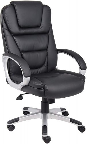 Boss Office Products B8601 High Back No Tools RequiredLeatherPlus Chair in Black