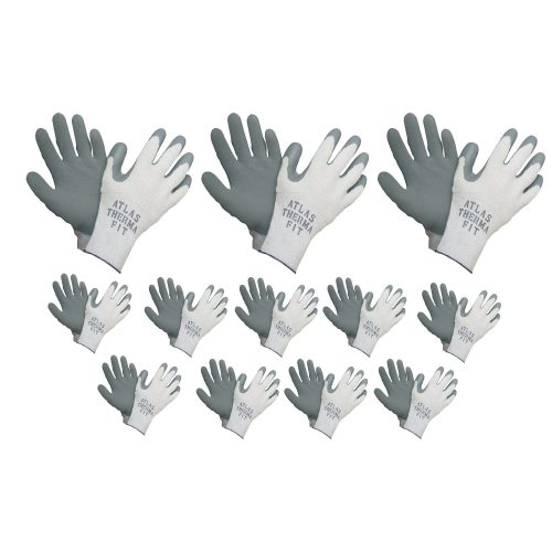 Atlas Showa - Therma-Fit 10-Gauge Insulated Seamless Liner Work Gloves with Natural Rubber Latex Coating - Grey, Large, 12-Pair - 451