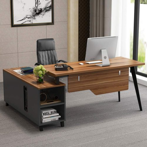 Tribesigns L-Shaped Desk, Large Executive Office Desk Computer Table Workstation with Storage, Business Furniture with File Cabinet, Dark Walnut + Stainless Steel Legs