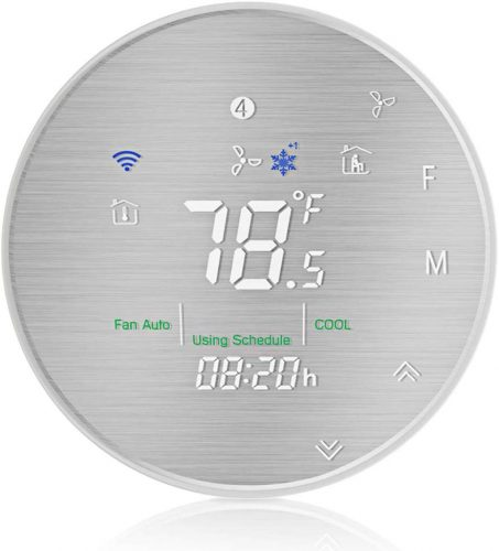 MOES Smart WiFi Heat Pump Thermostat Programmable Temperature Controller,Metal Brushed Panel,Smart Life/Tuya APP Remote Control,C-Wire Required,Works with Alexa Google Home