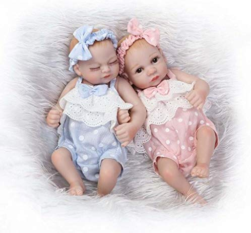 "TERABITHIA Mini 10"" Realistic Reborn Baby Girls Dolls Silicone Full Body Newborn Twins Washable"