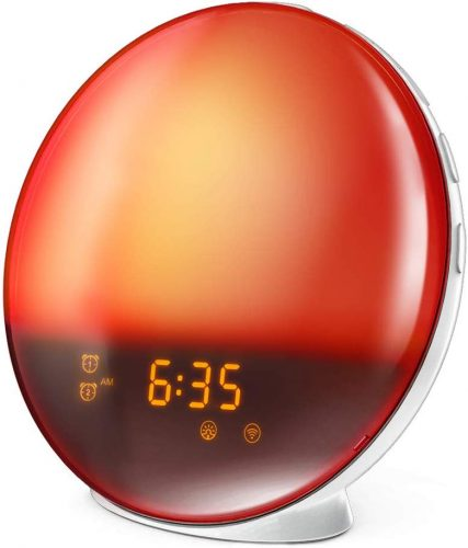 Roll over image to zoom in LATME Sunrise Alarm Clock Wake Up Light Works with Alexa Google Home with Colored Sunrise Simulation and Sunset Fading Night Light for bedrooms,FM Radio,4 Alarm 12 Times Snooze Function (White-Smart)
