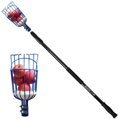 SAN LIKE Fruit Picker with 4-11 Foot Lightweight Fiberglass Extension Pole,Twist-on Fruit Harvester and Telescope Pole for Picking Apple,Pear,Orange and Kiwi and More