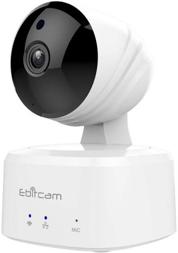 Roll over image to zoom in Ebitcam Smart Home WiFi Camera,Baby Monitor, Pan/Tilt/Zoom, Night Vision, Two-Way Audio, Motion Alarm, Available for iOS/Android/PC,Cloud Service Available,Work with Alexa