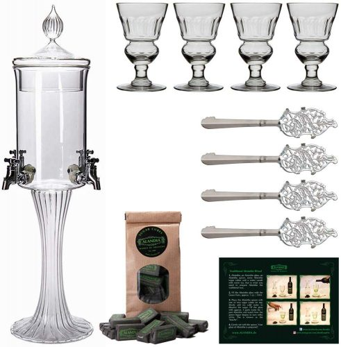 Roll over image to zoom in Absinthe Fountain Set Heure Verte | 1x Absinthe Fountain | 4x Absinthe Glasses | 4x Absinthe Spoons | 1x Absinthe Sugar Cubes | Drink Absinthe the traditional way!