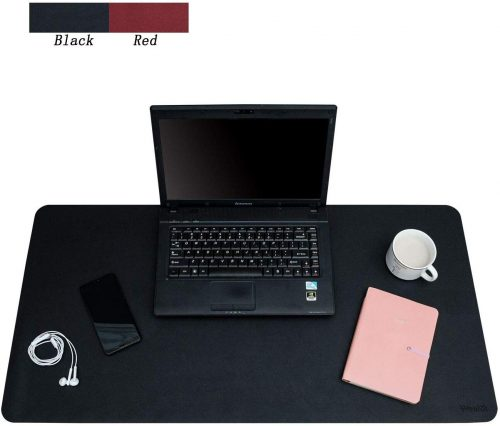 "Weelth Multifunctional Office Desk Pad, 31.5"" x 15.7"" Desk Pad Protector PU Leather Dual-Sided Waterproof Desk Writing Pad for Office/Home(Black, 31.5"" x 15.7"")"
