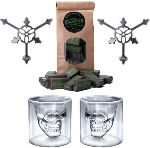 Scary Skull Design Absinthe Set | 2x Absinthe Skull Glasses | 2x Absinthe Spoons | 1x Sugar Cubes