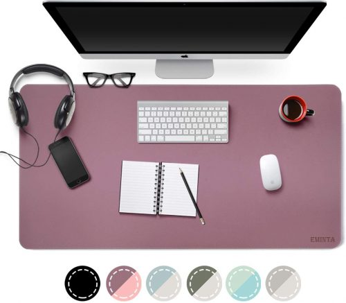 "Dual Sided PU Leather Desk Pad, 2020 Upgrade Sewing Edge Office Desk Mat, Waterproof Desk Blotter Protector, Desk Writing Mat Mouse Pad (Purple/Pink, 31.5"" x 15.7"")"
