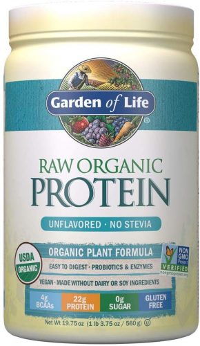 Garden of Life Raw Organic Protein Unflavored Powder, 20 Servings *Packaging May Vary* Certified Vegan Gluten Free Organic & Non-GMO, Plant Based Sugar Free Protein Shake with Probiotics & Enzymes