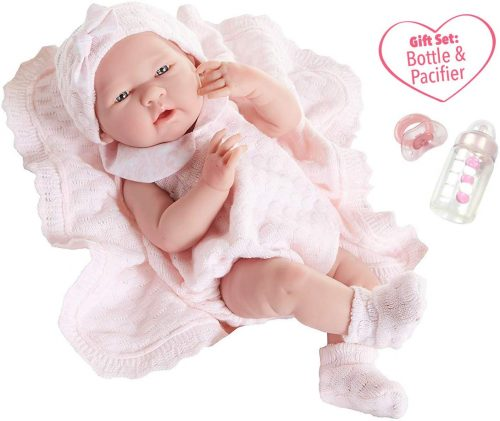 "JC Toys La Newborn All-Vinyl-Anatomically Correct Real Girl 15"" Baby Doll in Pink Knit Outfit and Accessories, Designed by Berenguer."