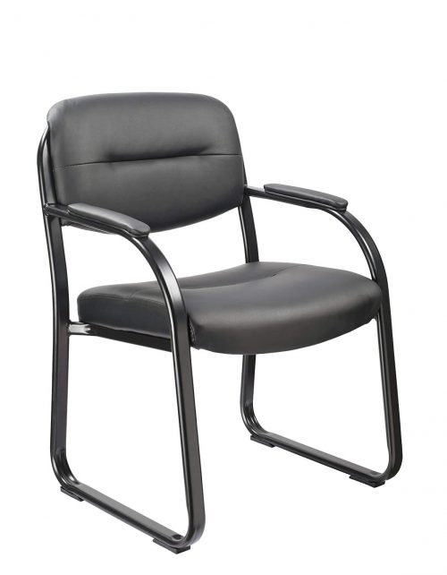 Office Factor Black Vinyl Guest Chair Side Visitors