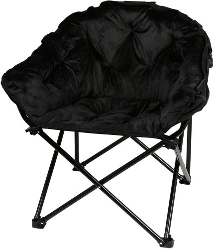 Soft and Comfortable Fully Padded with Deep-Set Folding Faux Club Chair (225 lb, Black)