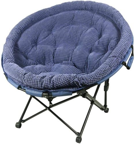 YLYAB Moon Chair Leisure Camping Chair Without Cup Holder Steel Frame Folding Padded Portable (Color : Navy Blue)