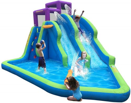 Kahuna Twin Falls Outdoor Inflatable Splash Pool Backyard Water Slide Park