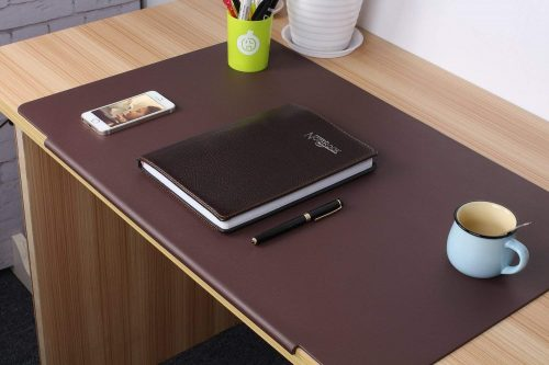 LOHOME deskMat_Brown Desk Pads Artificial Leather Laptop Mat with Fixation Lip, Perfect Desk Mate for Office and Home, Rectangular, Large, Red Brown