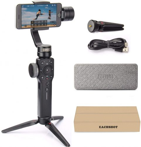 Zhiyun Smooth 4 3-Axis Handheld Gimbal Stabilizer YouTube Video Vlog Tripod for iPhone 11 Pro Xs Max Xr X 8 Plus 7 6 SE Android Smartphone Samsung Galaxy Note10 S10 S9 S8 S7 Q2 Smooth-Q 2020 New Black