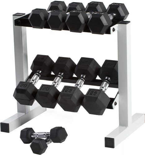 CAP Barbell Rubber Coated Dumbbell Set with Storage Rack
