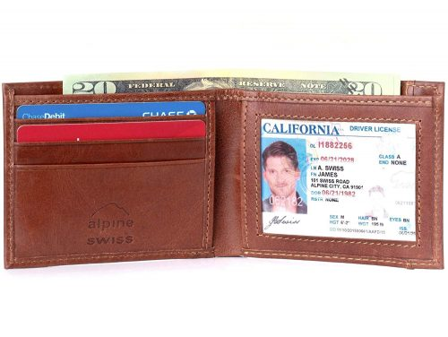 Alpine Swiss Mens Genuine Leather Thin Slimfold Wallet