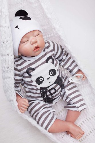 "OtardDolls Reborn Doll 18"" Reborn Baby Doll Lifelike Soft Vinyl Silicone Doll Children Gifts (Panda Fashion)"