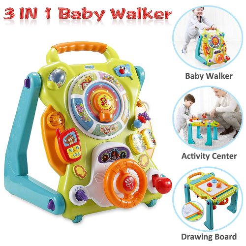Roll over image to zoom in NuoPeng 3 in 1 Baby Sit-to-Stand Walker, Activity Center, Entertainment Table, Drawing Board