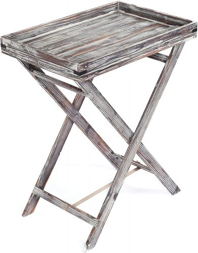 MyGift Distressed Torched Wood Butler Serving Tray with Folding Stand