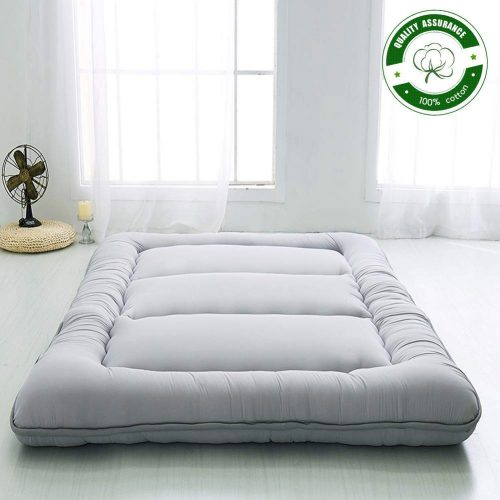 Japanese Floor Mattress Futon Mattress, Thicken Tatami Mat Sleeping Pad Foldable Roll Up Mattress Boys Girls Dormitory Mattress Pad Kids Floor Lounger Bed Couches and Sofas, Grey, Twin Size