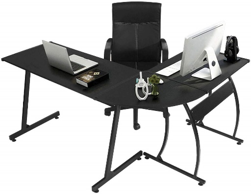 GreenForest L-Shaped Corner Desk Computer Gaming Desk PC Table, Home Office Writing Workstation 3-Piece, Black B01K7AOSQE