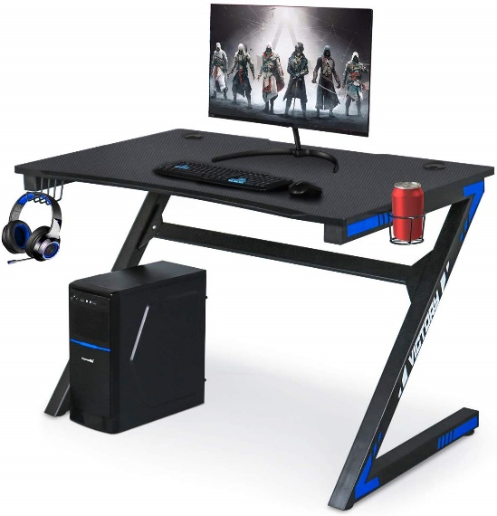 Computer Gaming Desk with Large Carbon Fiber Surface Cup Holder & Headphone Hook for Home or Office, Gaming PC Desk Table Product Code: B07RYCVQ3K