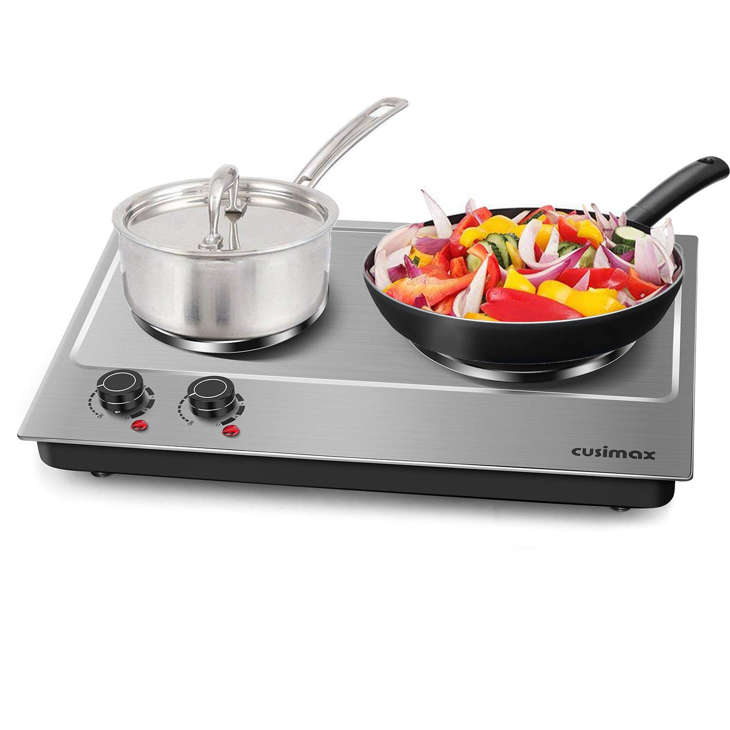 Cusimax Hot Plate Electric Double Burner Cast Iron Heating Plate Indoor&Outdoor Stove - Portable Electric Stove Tops